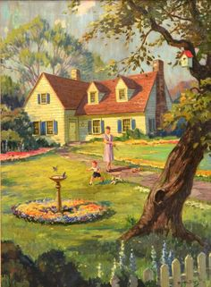 """""""Mother With Playing Child in Front Yard"""", Hy Hintermeister (John Henry Hintermeister, 1897-1972)"""