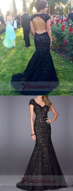 prom dresses, 2016 long prom dresses, black lace prom dresses, mermaid prom…