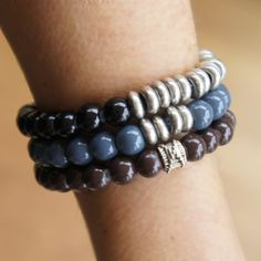 Unisex Beaded stretch bracelets, Mens bracelets