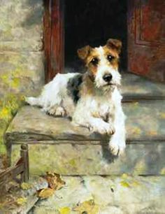 Arthur Wardle, R.I., R.B.C. (1864-1949) Waiting for master, a wire coated fox terrier