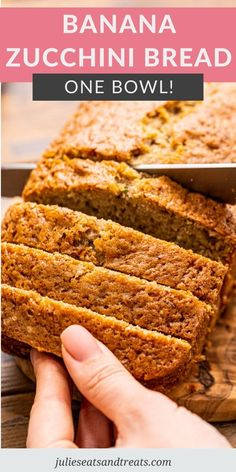 Tender quick bread made with banana and zucchini! Mix up two of your favorite breads into this Banana Zucchini Bread. Perfect for an afternoon snack or morning coffee! #banana #bread Glazed Lemon Zucchini Bread Recipe, Banana Zucchini Muffins, Zucchini Bread Recipes, Quick Bread Recipes, Banana Bread Recipes, Baking Recipes, Healthy Chocolate Zucchini Bread, Yummy Recipes, Deserts