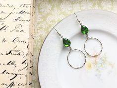 Green Vintage Glass Jewel Dangle Earrings by VintageDesignsFinds