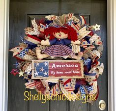 A personal favorite from my Etsy shop https://www.etsy.com/listing/533312173/fourth-of-july-wreathamericana-burlap