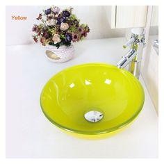 彩色上絵洗面ボウル 洗面台 手洗い器 強化ガラス製 排水金具付 7色-D31cm VT3112