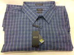 Arrow Big Tall Men's 4 XL Shirt Button Up Long Sleeve Blue Check Pattern Collar  | eBay