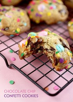 Chocolate Chip Confetti Cookies by Bakerella--just add confetti sprinkles to the top of your cookie dough balls before baking--cute idea for a birthday gift!