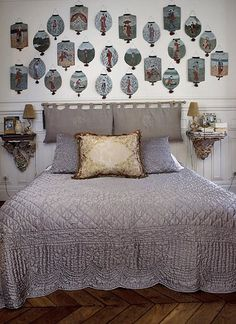 I like how the headboard is made. Take a curtain rod and curtains and put it on the wall right above the bed.