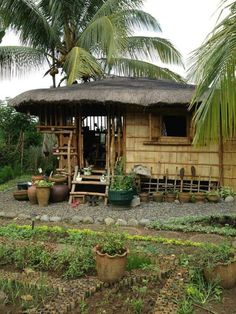 "in Philippines it's called ""bahay kubo"". Bahay Kubo Design Philippines, Filipino House, Bamboo House Design, Hut House, Jungle House, Bamboo Structure, Bamboo Architecture, Cool Tree Houses, My Ideal Home"