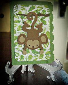Hang in there! Get well card idea. Cricut Life's A Party:  Monkey card