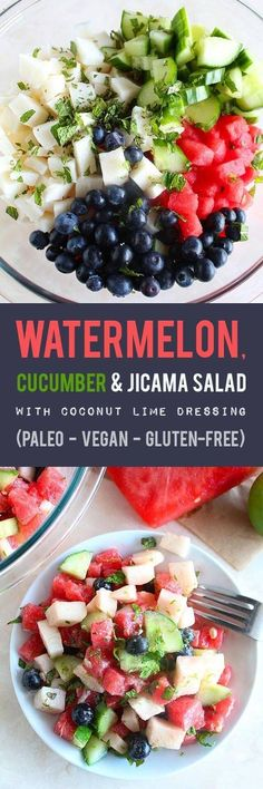 A healthy summer salad full of hydrating and cooling foods like watermelon, cucumber & jicama and topped with an addicting coconut lime dressing. (Paleo, Vegan & Gluten-Free)