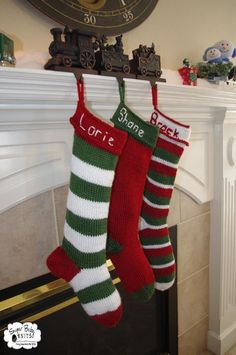 Personalized Knit Christmas Stocking Knitting pattern by SugarBabyKnits Personalized Knit Christmas Stockings, Knitted Christmas Stocking Patterns, Crochet Stocking, Vintage Christmas Stockings, Crochet Christmas Stockings, Holiday Crochet, Love Knitting, Baby Knitting, Norwegian Knitting