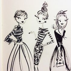 The influence of watching too many old movies. #tcm #vintage #sketch #fashion