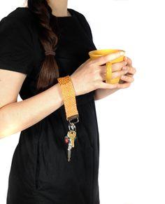 New to pidgepidge on Etsy: Woven Tangerine Key Fob | Boho Bracelet Keychain | Modern Boho Gifts | Colorful Textured Key Fob | Fob Pattern Designs | Gifts under 50