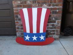 Uncle Sam Hat Wood Outdoor Yard Art, Ornament, 4th of July Decor, Uncle Sam Hat | eBay