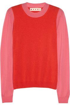 Marni|Two-tone cashmere sweater|NET-A-PORTER.COM