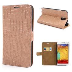 Samsung Note 3 Crocodile Texture flip case, cover, hoes Beige