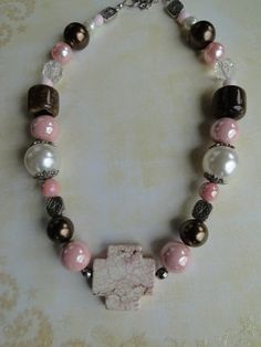 Pink and Brown Chunky Necklace  Pink Cross by TexasRedheadBoutique, $13.00