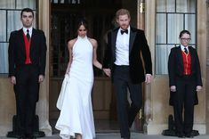 The dress Meghan Markle wore to the second royal wedding reception was designed by Stella McCartney Meghan Markle Dress, Meghan Markle Outfits, Meghan Markle Style, Second Wedding Dresses, Evening Dresses For Weddings, One Shoulder Wedding Dress, Stella Mccartney, Classy Prom Dresses, Bridesmaid Dresses