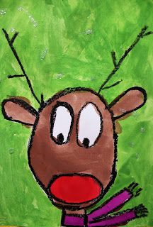 Art Room with a View: Festive Reindeer Christmas Art For Kids, Christmas Art Projects, Christmas Arts And Crafts, Preschool Christmas, Christmas Paintings, Xmas Crafts, Olive The Other Reindeer, Grade 1 Art, Grade 2