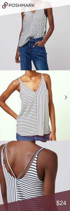 Once-Worn Topshop Striped V-Neck Camisole Once-worn, like new Topshop white double strap v-front camisole with navy stripes. The most flattering style and very versatile for work or fun. Partially lined and not at all sheer. US size 6, but fits between a 4 and 6, small. Make me an offer! Topshop Tops Camisoles