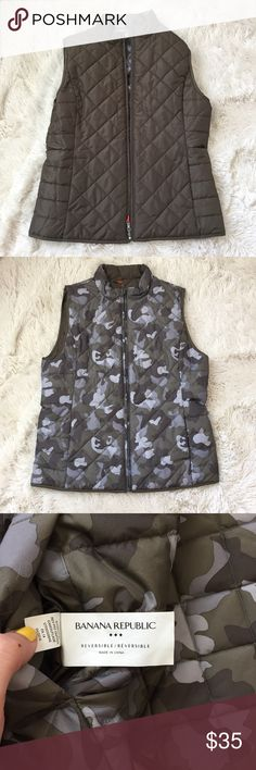 Banana Republic reversible camouflage puffy vest Olive green on one side. Camouflage on the other. ONLY WORN A FEW TIMES. Perfect condition. Pockets on each side too!! Banana Republic Jackets & Coats Vests