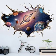 Removable 3D Planet Wall Sticker Waterproof Vinyl Art Mural Decal Universe Star Wall Paper For Kids Room Home Ceiling Decor