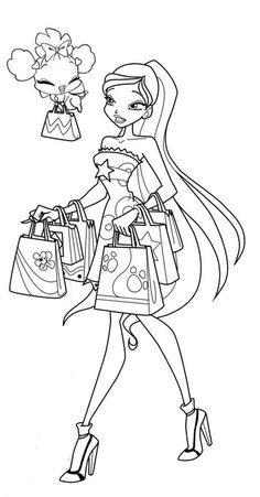 Colouring Pages Fairy Coloring Books Winx Club Outline Printables Digital Pattern Drawings Quote Vintage