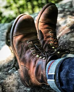 The boots during a hike on the Tanbark Trail in Phoenicia. And on an animal pelt carpet at the Happy almost Friday! Mens Boots Fashion, Denim Fashion, Cuffed Jeans, Jeans And Boots, Leather Men, Leather Shoes, Iron Rangers, Red Wing Iron Ranger, Red Wing Boots