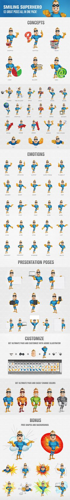Smiling superhero cartoon character designed with perfection in every pixel. We have created 63 different poses and moods that will suit a wide range of projects. Continue reading →