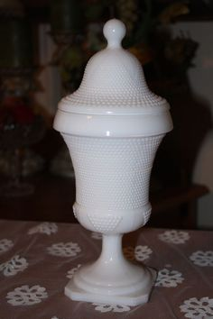 "Milk Glass Pedestal Dish with Lid Fenton Hobnail Vintage Rare  11-1/2"" Tall"