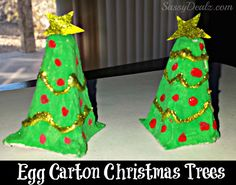We made some Christmas trees out of a recycled egg carton today! These turned out really cute for an art project. You will need green/red paint, glue, gold glitter, scissors, and an egg carton! Cut the pointy parts of the egg carton to make the Christmas tree. This was the hardest part so you might …