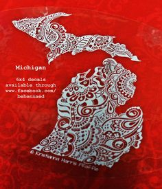 State of Michigan, original design decal, © of artist. 6x4 vinyl decal, white-on-clear, available from the artist at www.facebook.com/behennaed  tags: Michigan, mitten, Upper Peninsula, Great Lakes, Detroit, Lansing, Marquette, Mackinac, Mackinac Bridge, henna, mehndi, zentangle, floral, mandala, paisley