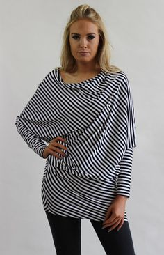 Naomi Stripe Asymmetric Drape Top – LagenLuxe Clothing Luxe Clothing, Fashion Labels, Bell Sleeve Top, Tunic Tops, Clothes, Women, Style, Outfits, Swag