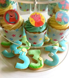 Peppa Pig themed 3rd Birthday Cookies.