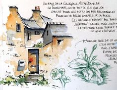 Croquiscarnets de voyage et aquarelle Stage de croquis en ligne Sketching travel journals and watercolor online workshop Drawing Journal, Watercolor Journal, Artist Journal, Sketchbook Drawings, Watercolor And Ink, Watercolor Illustration, Art Sketches, Art Drawings, Sketchbook Cover