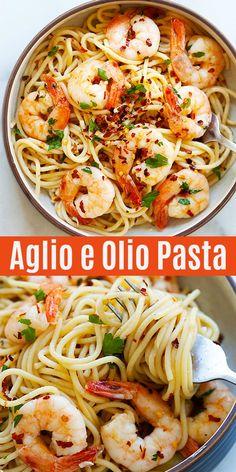 Spaghetti Aglio e Olio with Shrimp - super easy and delicious spaghetti with garlic, olive oil, shrimp and red pepper flakes. Amazing dinner for the family. Aglio E Olio Recipe, Pasta Aglio E Olio, Spaghetti Aglio Olio Recipe, Shrimp Spaghetti, Spaghetti With Shrimp Recipes, Pasta With Shrimp, Shrimp Pasta Recipes, Seafood Recipes, Al Dente