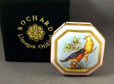 NEW ORIGINAL BOX ROCHARD STUDIO COLLECTION FRENCH LIMOGES BOX BIRDS &BUTTERFLIES