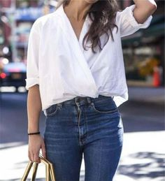 trendy how to wear white shirt ideas jeans How To Wear White Jeans, How To Wear Leggings, Look Plus, Fashion Essentials, Denim Shirt, Denim Belt, Shirt Outfit, Sexy, What To Wear