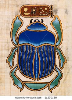 Egyptian papyrus representing a scarab - Egyptian papyrus representing a scarab Image bank - Egyptian Symbols, Egyptian Art, Egyptian Beetle, Ancient Symbols, Mayan Symbols, Viking Symbols, Viking Runes, Ancient Egypt Art, Egyptian Goddess
