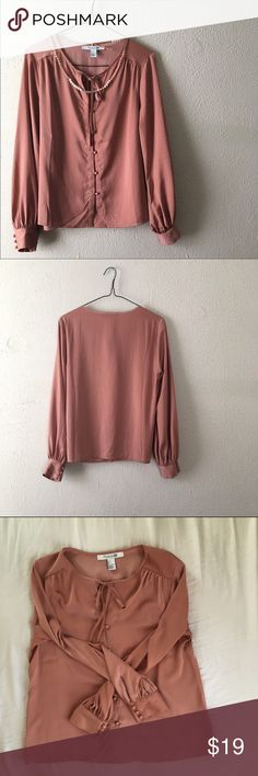 """Forever 21 Button Down Blouse Long sleeve, copper button down Blouse, ties at neck, lightweight polyester, gathered (pleated) around cuffs and shoulders//armpit to armpit length @ 18.5""""//total length @ 22.5""""//arm length @23"""" Forever 21 Tops Button Down Shirts"""
