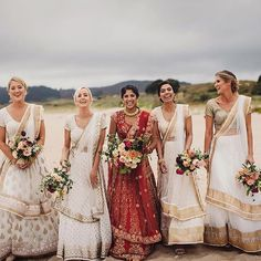 Fusion wedding dress inspiration, try this Red Lehenga with matching white on gold Lehenga for your bridesmaids; Traditional colors yet modern execution for a unique fusion wedding idea Indian Bridesmaid Dresses, Bridesmaid Saree, Bridesmaid Outfit, Indian Wedding Outfits, Brides And Bridesmaids, Bridesmaid Color, Indian Wedding Bridesmaids, Bridesmaid Quotes, Bridesmaid Pictures