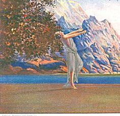 Vintage Art Deco Print : Dawn by Robert Wood 1920s Fantasy Lady