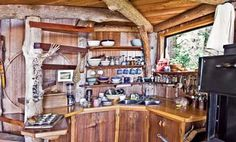 Handmade seaside kitchen built primarily from driftwood.