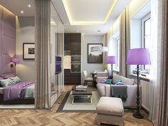 Apartamento de 32 m2 quadrado, com tons de cinza e roxo, clássico e super feminino. Quarto separado da sala por vidro.