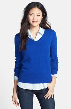 Free shipping and returns on Halogen® Cashmere V-Neck Sweater (Regular & Petite) at Nordstrom.com. Nothing says cozy like a cashmere sweater. This classic V-neck style is available in a rainbow of colors to layer or wear alone.