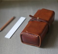Brown vegetable tanned leather vintage pencil case/pen pouch/ sunglasses case - brwon vegetable cow hide leather Pencil Case/Pen Pouch/ by BySen -
