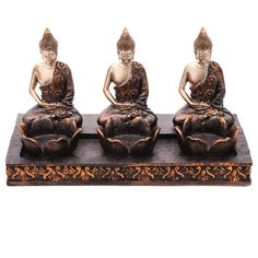 Decorative Thai Buddha Tea Light 3 Candle Holder by getgiftideas
