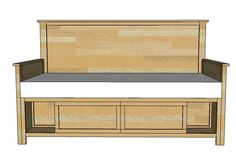 Build your own daybed with storage! You'll love our free step by step plans. This daybed is a simple modification of the Hailey Twin Storage bed, and features front only storage compartments. Diy Furniture Plans, Woodworking Furniture, Handmade Furniture, Woodworking Plans, Modern Furniture, Furniture Design, Youtube Woodworking, Workbench Plans, Woodworking Magazine