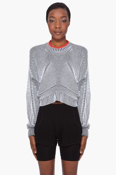 ALEXANDER WANG Cropped Tonal Sweater | Knit | Knitwear | lookbook | editorial | high fashion | tricot