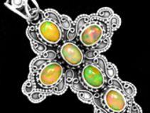 Sterling Silber äthiopisch Opal Anhänger MCHP-1452